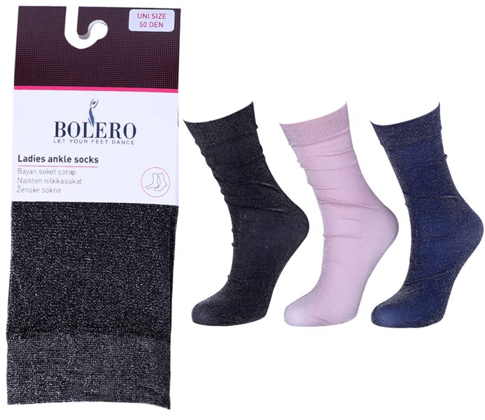 Ladies  Lurex Socks Plain – BP311