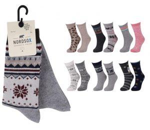 Ladies Soft Wool Socks Nordic Pattern 2 Pack - BW777