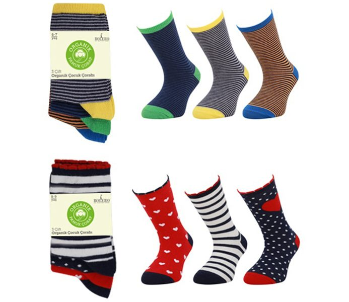 Kids Organic Cotton Socks 3 Pack – BK163
