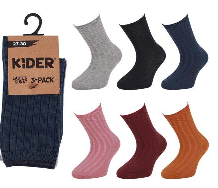 Kids Ribbed Solid Socks 3 Pack – BK856