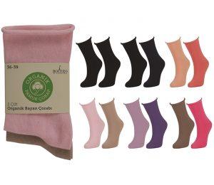 Ladies Roll Top Organic Cotton Socks 2 Pack - BW720
