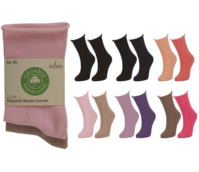 Ladies Roll Top Organic Cotton Socks 2 Pack – BW720